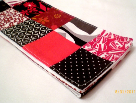Scarf : Red, Black and White Patchwork SALE