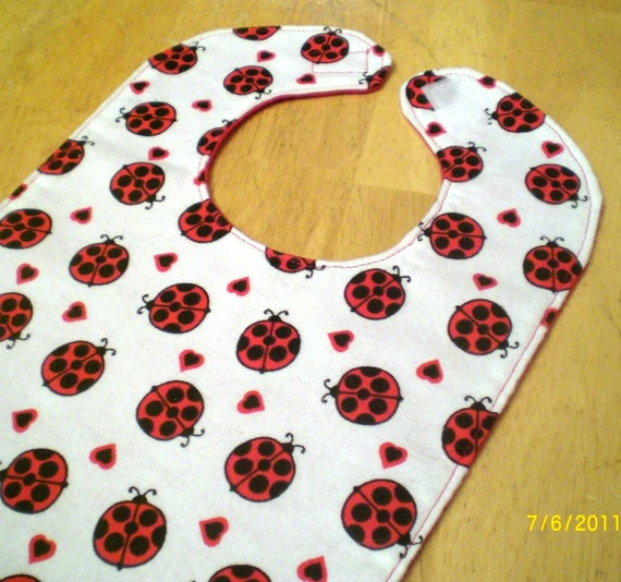 Baby Bib: Red Lady Bug Print
