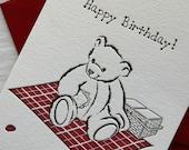 Teddy Birthday Letterpress CARD (picnic)