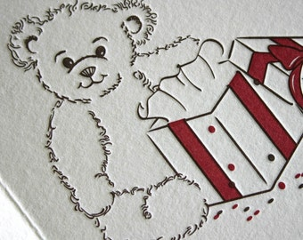 Teddy Bear Letterpress Thank You Card