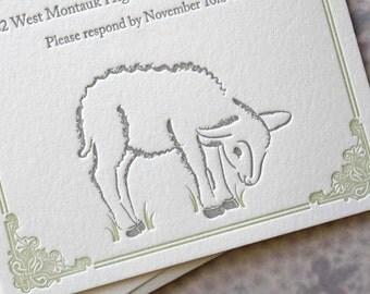 Lamby Letterpress Birth Announcements
