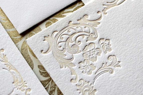 Letterpress Wedding Invitation - ARIA - Sample