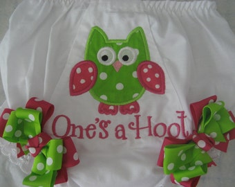 Baby girls Owl hot pink and green bloomers, girls owl diaper cover