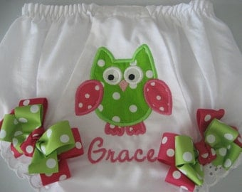 Boutique Owl monogrammed Bloomer with bows.