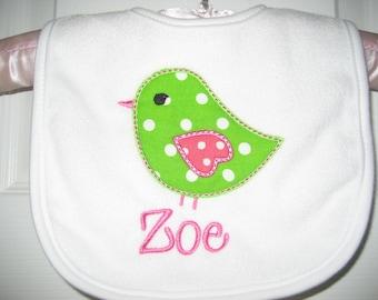 Baby girl bird bib, monogrammed bib, baby bib, personalized bib