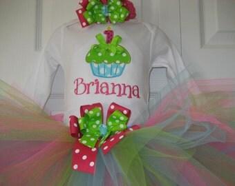 Baby girl cupcake Birthday tutu set, Hot pink and aqua tutu set, cake smash outfit