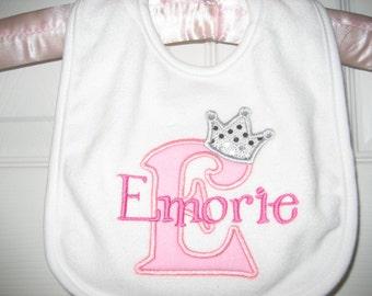 Baby girls Princess bib, pink princess bib, monogrammed bib