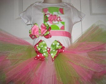 Boutique initial monogrammed tutu set with bow