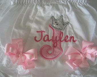 Baby girl Princess Bloomers, monogrammed bloomers, Pink and Silver, cake smash