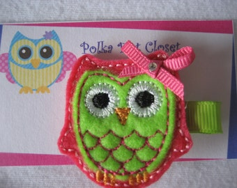 Lime Green and Shocking Pink  felt owl Hair clip Hair bow. Ready to ship