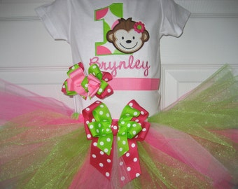 Boutique First Birthday Monogrammed Monkey tutu set