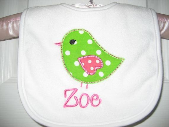 Boutique Sweet Bird monogrammed bib
