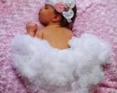 Newborn pettiskirt AND Feather Headband set....Newborn Petti skirt..photo prop....christening