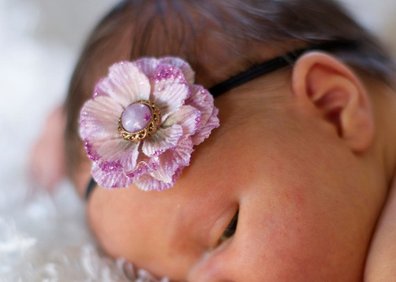 Petite Sparkly rose baby hair bow or newborn headband for babies... and girls