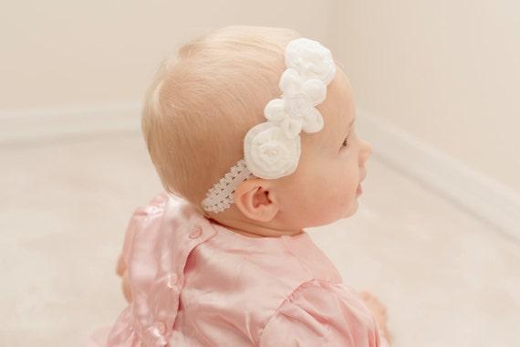Baby headband....Soft Antique chiffon pearl White newborn headband perfect for Baptism Headband, Christening Headband or Photo Prop