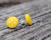 Yellow Patterned Button Earrings