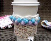 Purple, Blue and White Cupcake Coffee Cozy