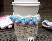 Purple, Blue and White Cupcake Coffee Cozy
