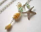 Kainehe v6 - Necklace / Sterling Silver, Freshwater Keishi Pearl, Mother of Pearl, Sea Shell, Starfish Charm, Swarovski Crystal