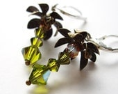 Coconut Tree Cuties - Earrings / Sterling Silver, Swarovski Crystal, Antique Brass, Palm Tree, Green, Olivine, Made in Hawaii
