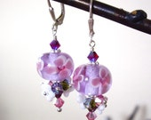 Tropical Lilac v2 - Earrings / Lampwork Glass, Czech flower, Swarovski Crystal, Sterling Silver, Plumeria, Pikake, Made in Hawaii