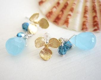 Kahaulani - Earrings / 16kt Gold Plated, Sterling Silver, Swarovski Crystal, Briolette, Teardrop, Baby Blue, Sky Blue, Flower, Post Earring