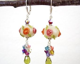 Loke Pihi v3 - Earrings / Lampwork Glass, Sterling Silver, Swarovski Crystal