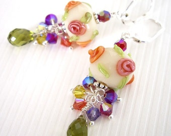 Loke Pihi - Earrings / Lampwork Glass, Sterling Silver, Swarovski Crystal