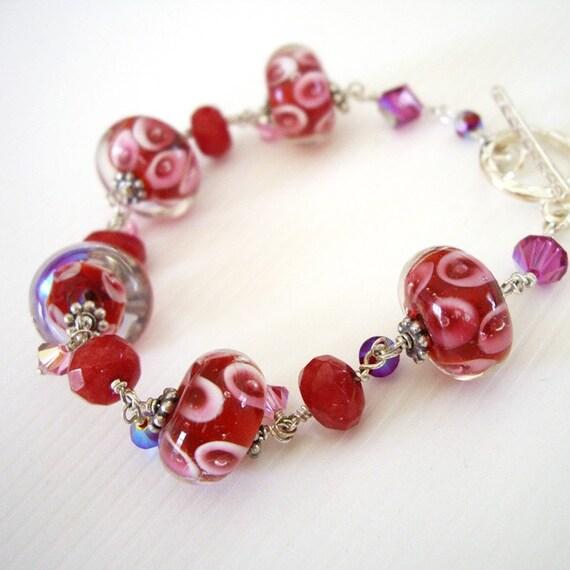 Fruit Punch Delight - Bracelet / Lampwork Glass, Swarovski Crystal, Jade, Sterling Silver