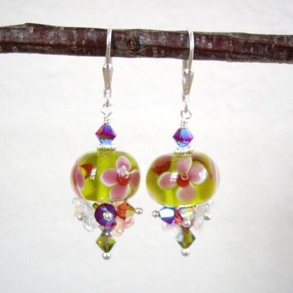 Serene Garden Love v2 - Earrings / Lampwork Glass, Sterling Silver, Czech Flower, Swarovski Crystal