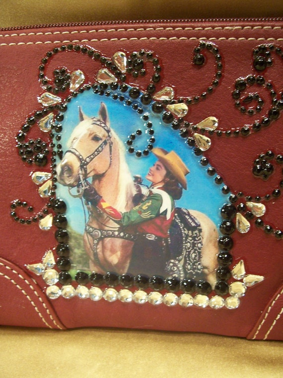 Burgundy Leather Wristlet with A Vintage Palomino Horse and Cowgirl and Rhinestones