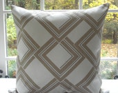 BothSides-- Geometric Decorative PillowCover--Designer Fabric-DURALEE--- Throw Pillow - Taupe, Putty  Winter  White