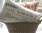 Designer Decorative Pillow Cover --French Script--12x20--Neutral Lumbar-- Pillow--Accent Pillow--Chocolate Brown- Natural Background
