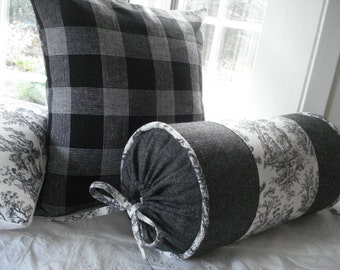 BOLSTER-.Decorative Designer .. Pillow Cover ....8 x 16..Black/ivory toile and salt and pepper tweed