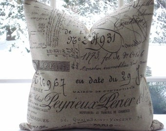 Both Sides -French Script-Decorative Designer Pillow Cover -Chocolate  Throw and Lumbar pillows -Script Accent Pillows