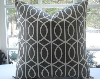 BOTH SIDES- Bella Porte -Geometric Decorative Pillow Cover...-Designer Fabric-- Charcoal -Trellis Design---Charcoal Grey/ off white