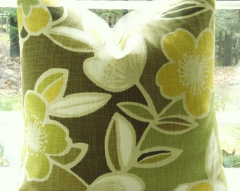 Decorative Pillow Cover--Designer Fabric -20X20 -CITRON Throw Pillow-Large Scale Floral Design-Citron, Lemon Yellow,Lime  Green ,Mocha,Tan