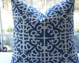 BOTH SIDES- Decorative Pillow Cover -Geometric Designer Fabric. - Blue  and off white Throw / Toss / Accent  Pillow - Trellis
