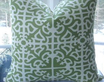 BOTH Sides---Decorative Pillow CoverDesigner Fabric -Waverly- Throw Pillow-- Geometric  Design -Summer Light Green and Ivory29.95