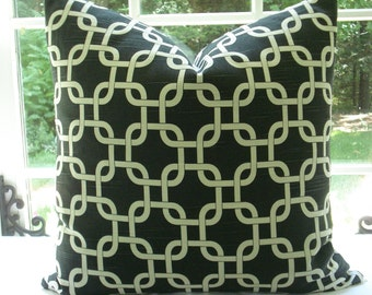 BOTH SIDES--Throws and Lumbars - Decorative  Designer Cover-- Links- Geometric- Charcoal / White Throw / Toss / Lumbar Pillow- Linen Look