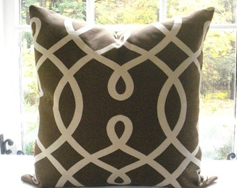DURALEE--Decorative Pillow Cover----Geometric--Throw Pillow -Accent Pillow-- Chocolate and Tan --Sofa Pillow
