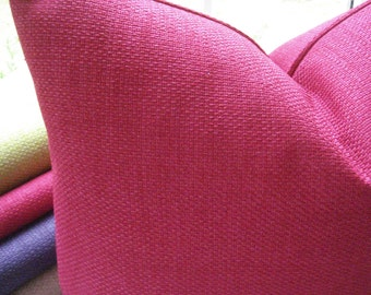 BOTH SIDES- Decorative  Pillow Cover--Basketweave Designer Fabric -Accent Pillow --Fuchsia throw /Lumbar Pillow covers