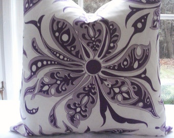 NEW DURALEE- Both Sides -Decorative Pillow Cover-Designer Fabric-- Floral  Purple Throw Pillow -Purple / Mauve/ Ivory Pillow Cover