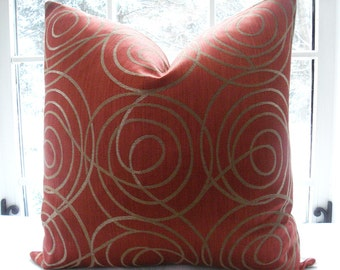 Designer Decorative Pillow Cover - Throw Pillow-Accent Pillow - Rusty/Tangerine /Gold