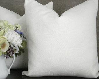 BOTH SIDES-Throws and Lumbars --Decorative Pillow Cover-MATELASSE- Designer Fabric- Creamy  Ivory Throw/ Lumbar Pillow