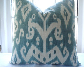 SALE - LAST ONE -16X16 -.Designer Decorative Pillow Cover -Ikat-Aqua,Teal,Seaglass Throw Pillow-Accent Pillow -