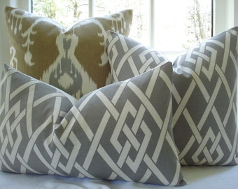 BOTH SIDES-- Decorative Pillow Cover--Designer Fabric---Gatework-Lumbar/Throw Pillow - Taupey Grey  ,Ivory