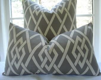 BOTH SIDES-- Decorative Pillow Cover--Designer Fabric---Gatework-Lumbar/Throw Pillow - Taupey Grey  ,Ivory
