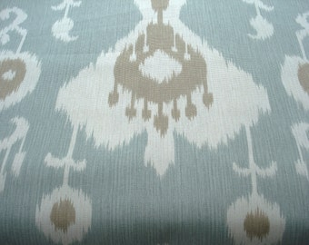 SALE- BOTH SIDES Ikat --Designer Decorative Pillow Cover -Designer fabric -- MochaThrow Pillow --Mocha/Ivory /Spa Aqua