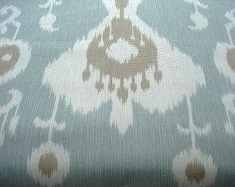 SALE- BOTH SIDES Ikat --Designer Decorative Pillow Cover -Designer fabric -- MochaThrow Pillow --Mocha/Ivory /Spa Aqua